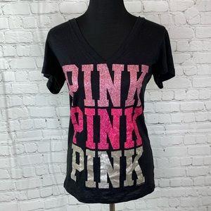 PINK Victorias Secret Glitter T Shirt Spellout L